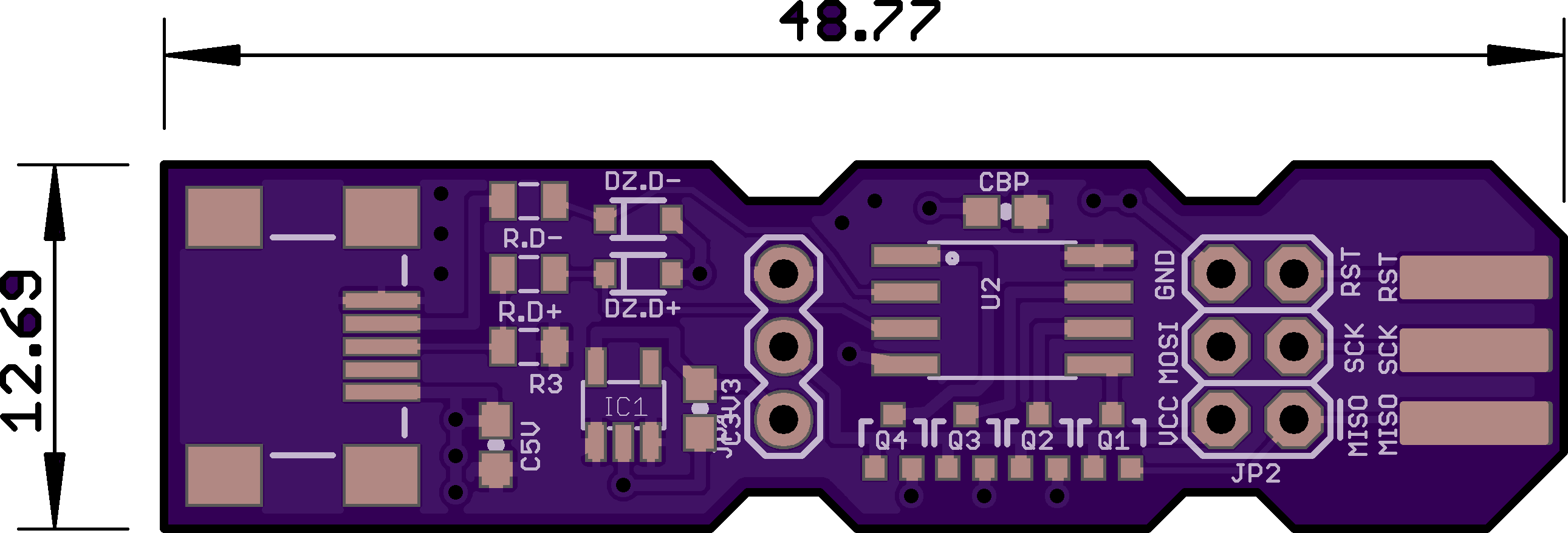 Top preview containing board measurements