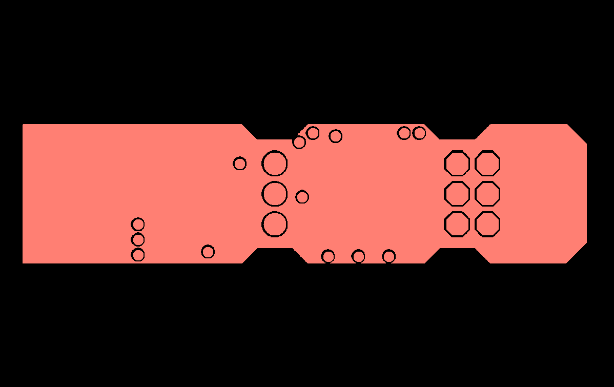 Positive polarity gerber, so the pink area represents copper.