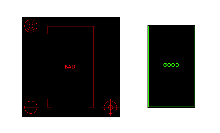 Leaving alignment points on board outline will increase detected board area and cost.